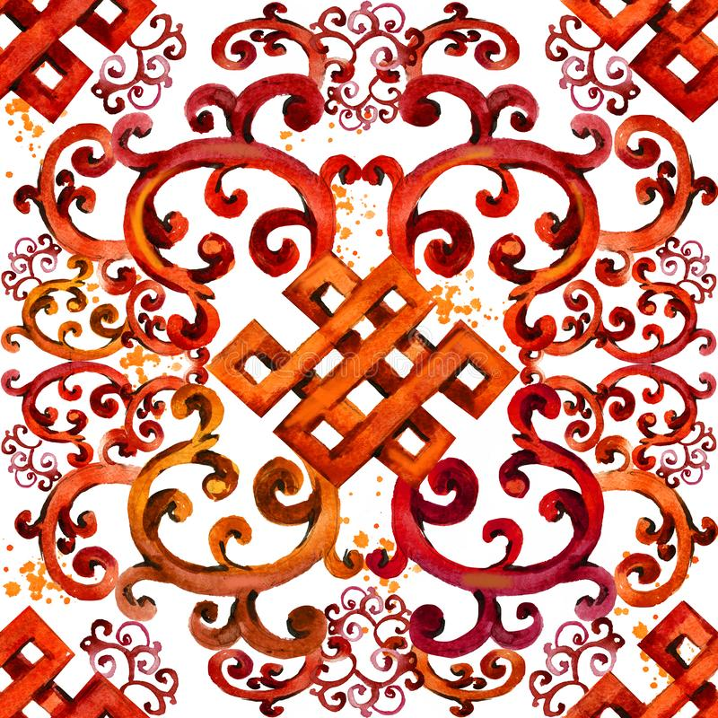 Modelo asiático ornamento inconsútil del este Origen étnico de la acuarela libre illustration