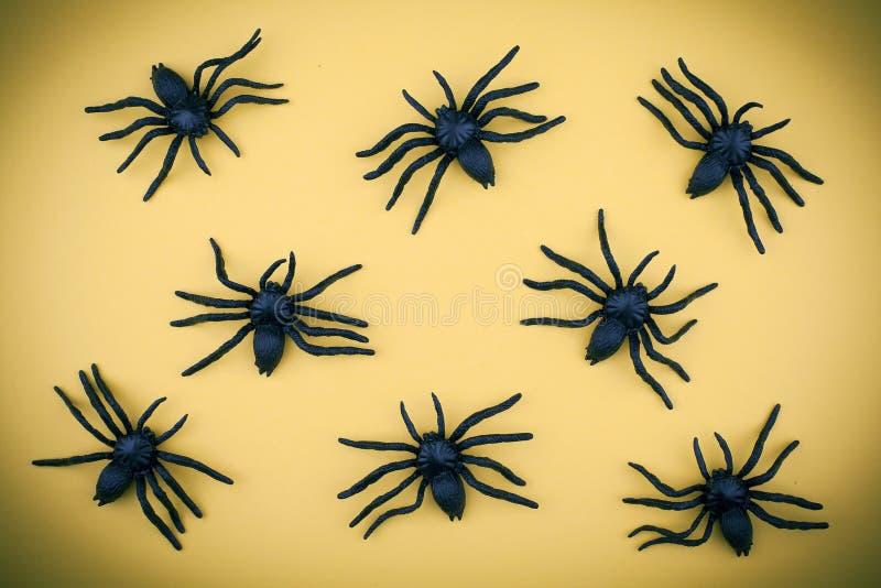 Modelo asustadizo de las arañas del fondo de Halloween imágenes de archivo libres de regalías
