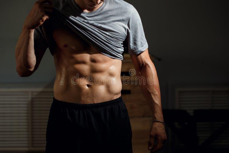 Modelo atlético forte Torso da aptidão do homem que mostra seis Abs do bloco fotografia de stock royalty free