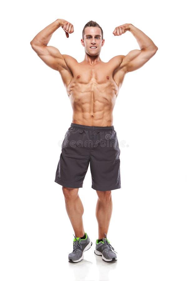 Modelo atlético fuerte Torso de la aptitud del hombre que muestra los músculos imagen de archivo