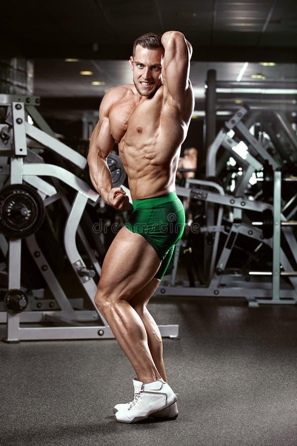 Modelo atlético fuerte Torso de la aptitud del hombre que muestra los músculos foto de archivo libre de regalías