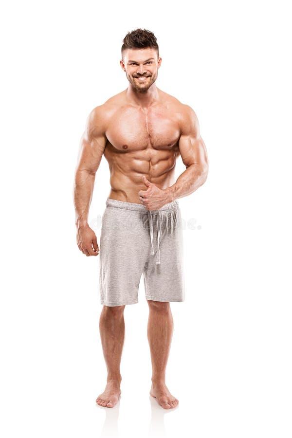 Modelo atlético fuerte Torso de la aptitud del hombre que muestra los músculos grandes fotografía de archivo