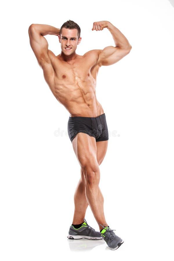 Modelo atlético fuerte Torso de la aptitud del hombre que muestra seis ABS del paquete  fotografía de archivo libre de regalías