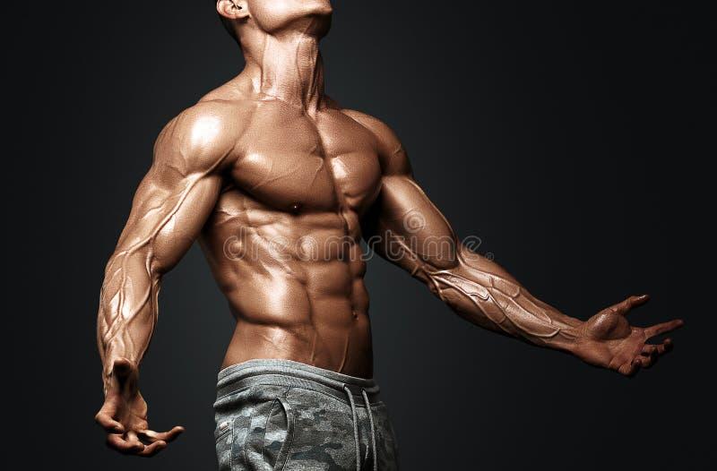 Modelo atlético fuerte Torso de la aptitud del hombre que muestra seis ABS del paquete fotografía de archivo