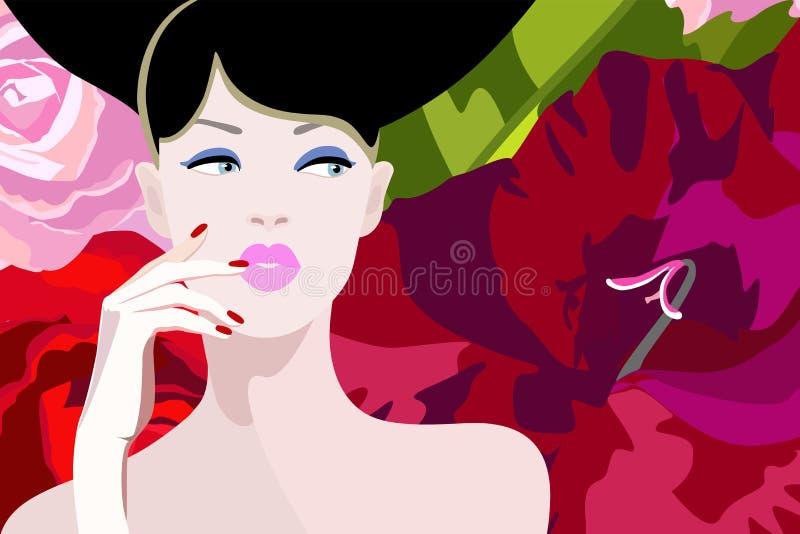 Modelo atractivo de la mujer del modelo del retrato abstracto de la acuarela libre illustration