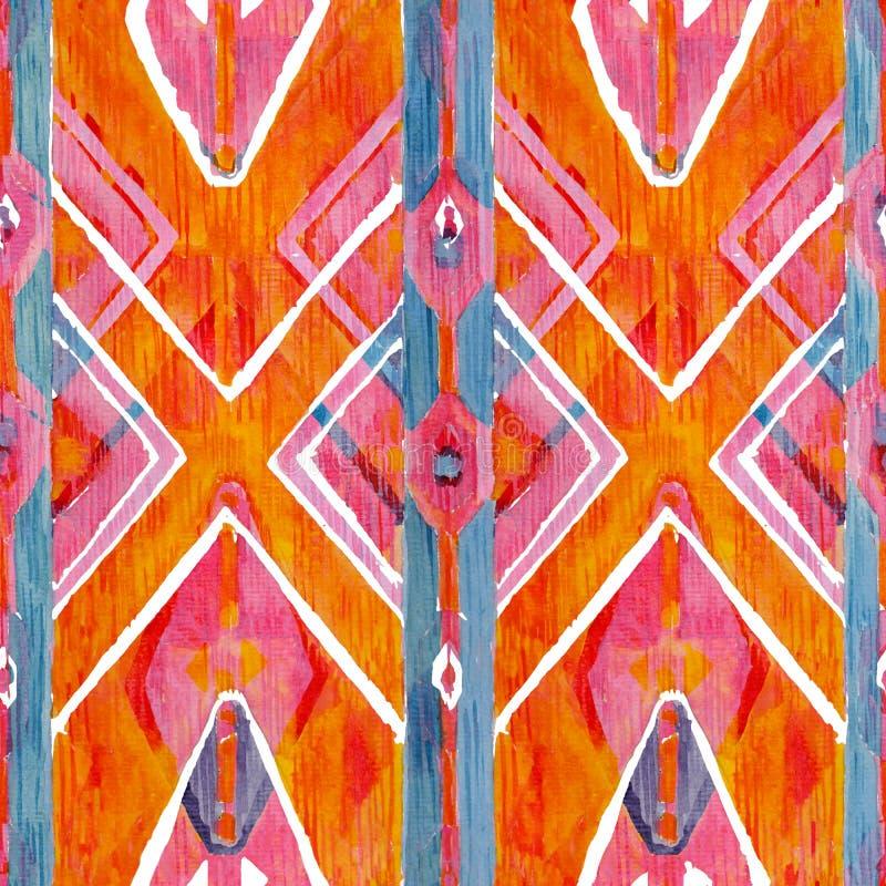 Modelo auténtico rojo de Ikat y anaranjado geométrico en estilo del watercolour Acuarela inconsútil foto de archivo