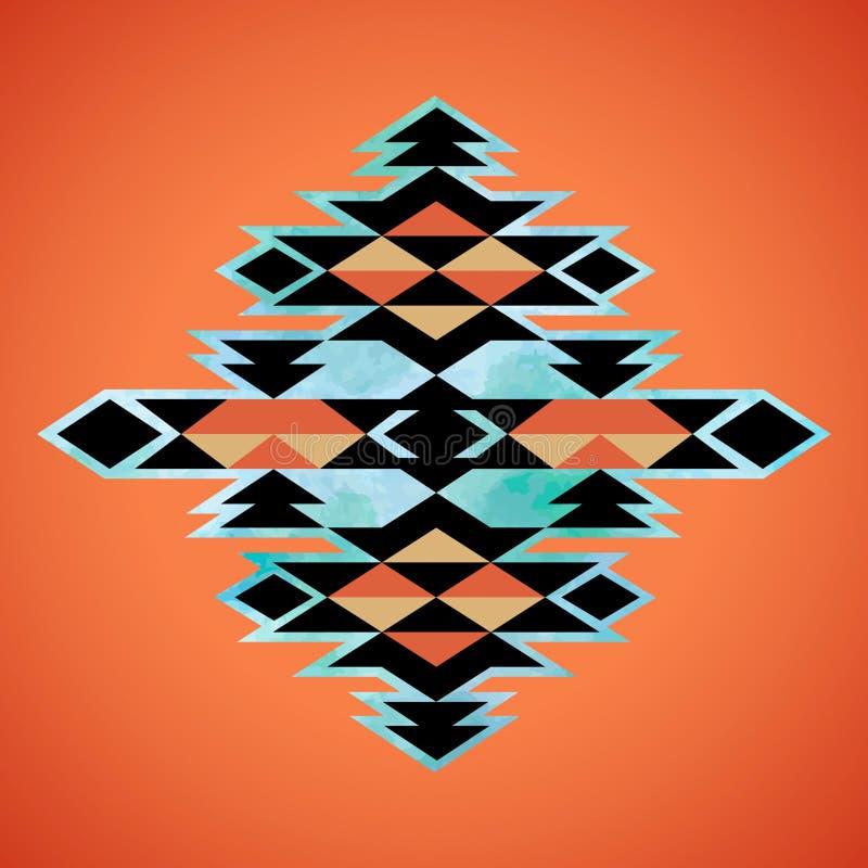 Modelo azteca de la inspiración de la materia textil de Navajo Indio del nativo americano stock de ilustración
