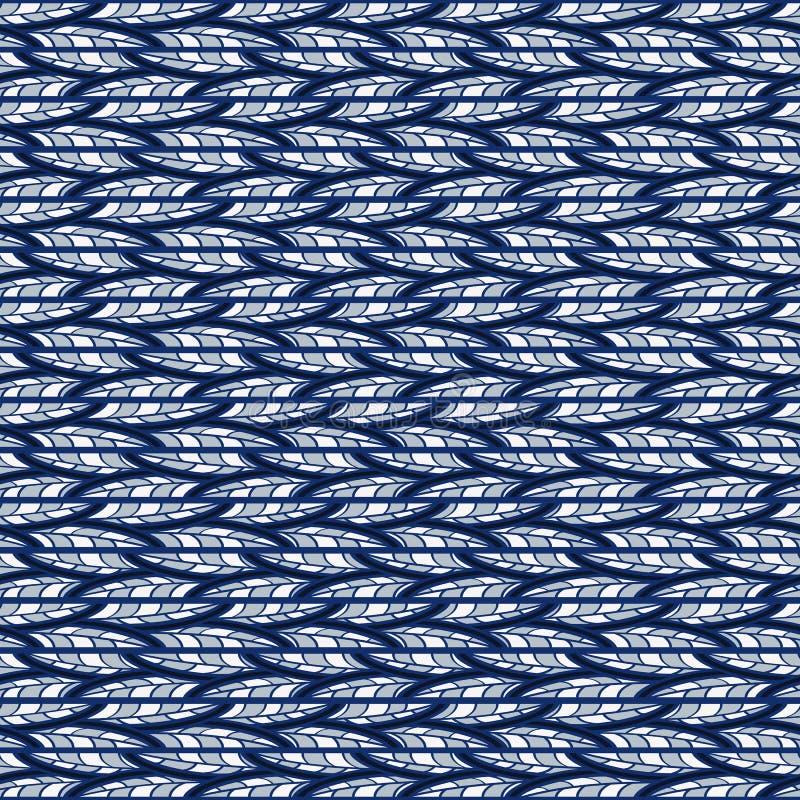 Modelo azul abstracto inconsútil de garabatos horizontales stock de ilustración