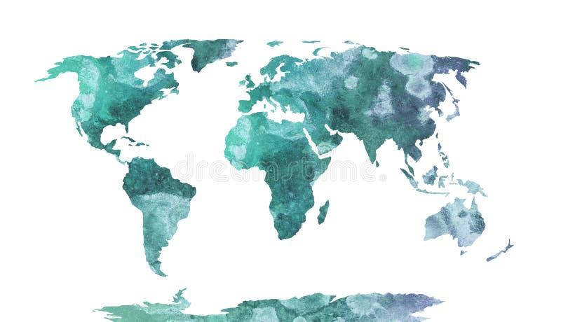 Modelo azul de la acuarela del mapa del mundo, arriba detallado stock de ilustración