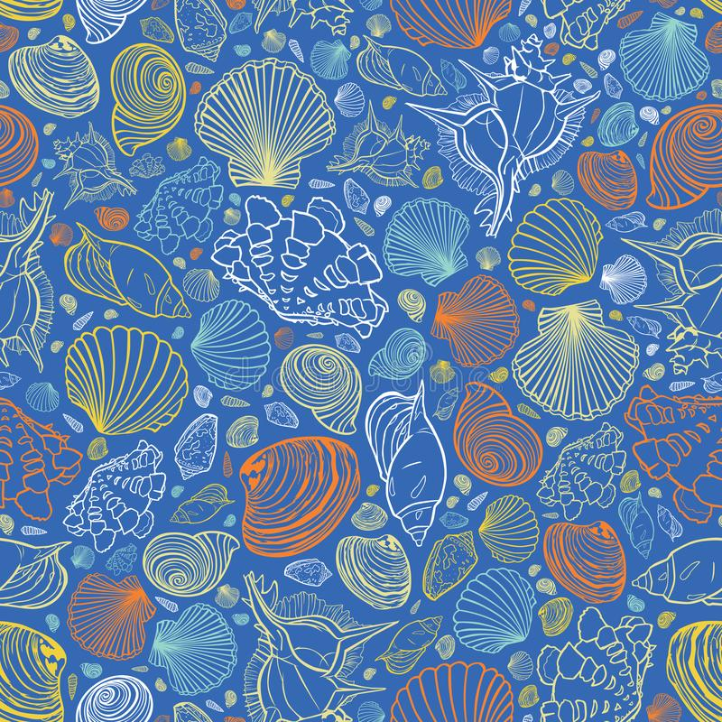 Modelo azul de la repetición del vector con la variedad de conchas marinas coloridas Perfeccione para los saludos, invitaciones,  stock de ilustración