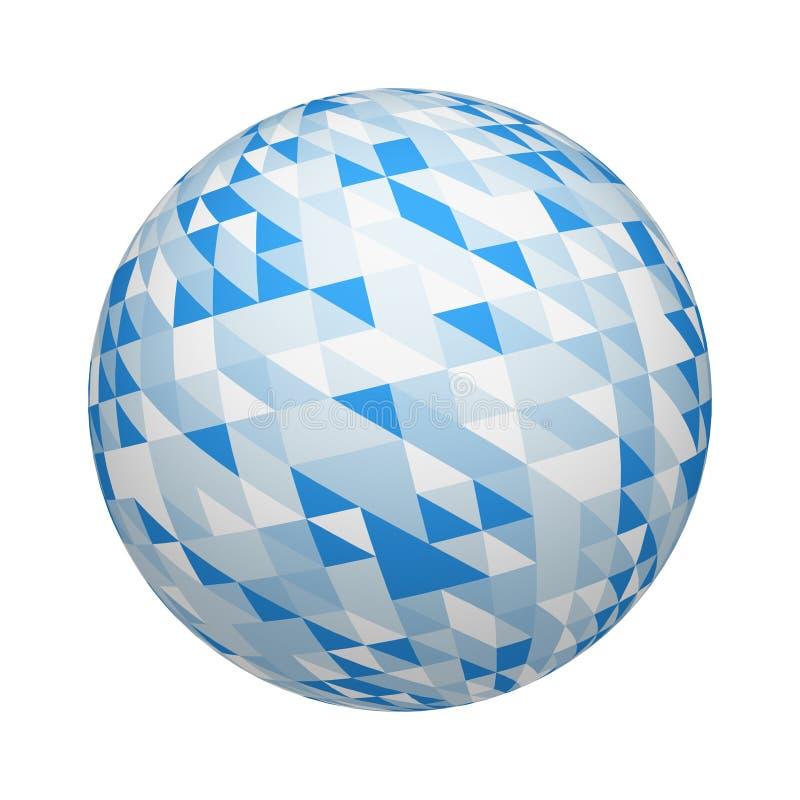 Modelo azul de la textura de las tejas del triángulo en esfera o bola aislada en el fondo blanco Diseño ascendente de la mofa eje libre illustration