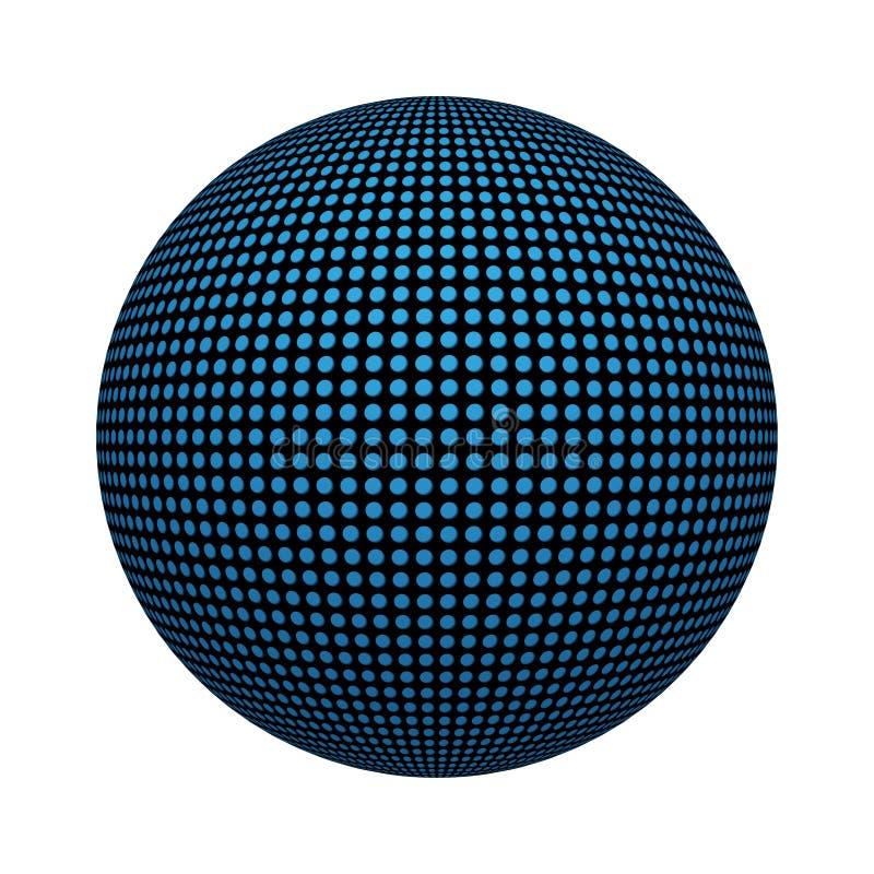 Modelo azul de la textura de la teja de mosaico del círculo en concepto de la tecnología en forma de la bola o de la esfera aisla libre illustration
