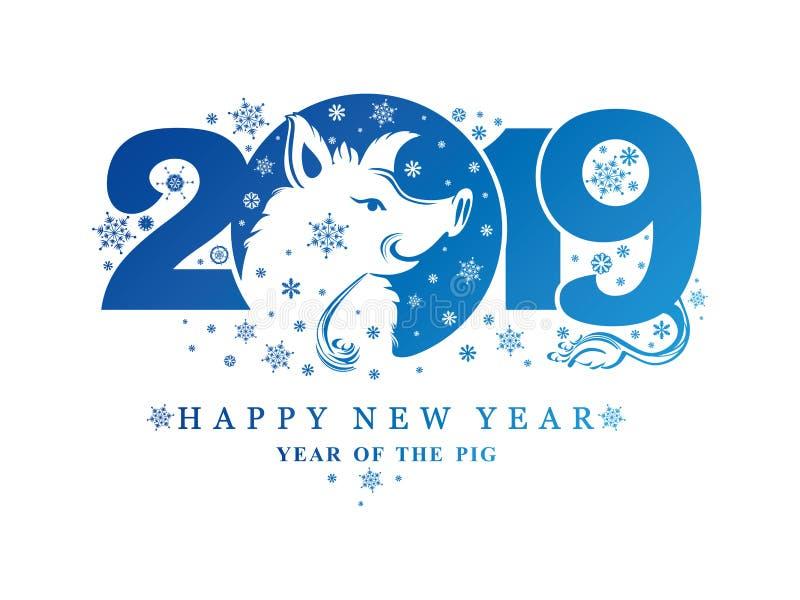 Modelo azul 2019 del Año Nuevo y cabeza y copos de nieve sonrientes del verraco libre illustration