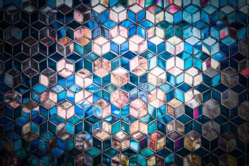 Modelo azul del espejo del mosaico foto de archivo libre de regalías
