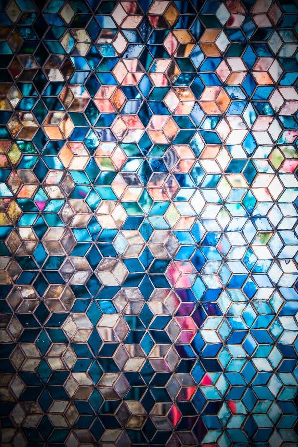 Modelo azul del espejo del mosaico imágenes de archivo libres de regalías
