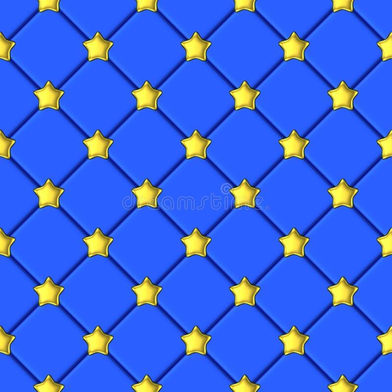 Modelo azul del fondo de la estrella brillante de oro stock de ilustración
