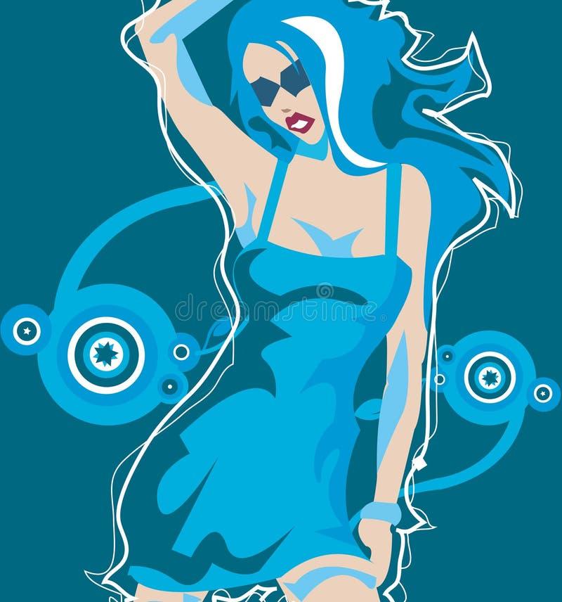Modelo azul fêmea ilustração royalty free