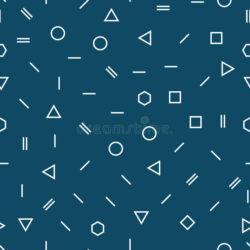 Modelo azul geométrico abstracto del diseño de la almohada de la moda de Memphis ilustración del vector