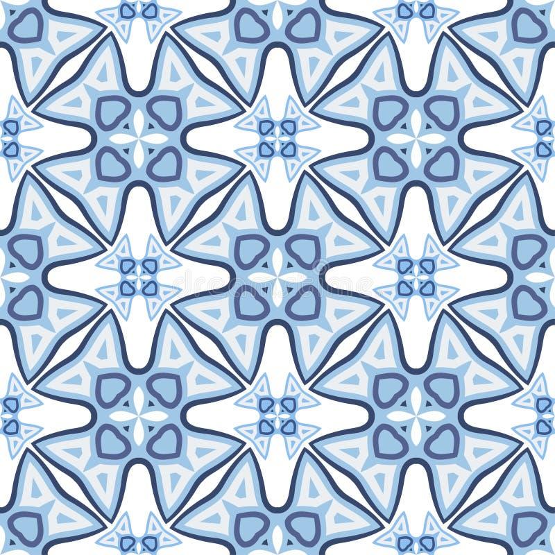 Modelo azul inconsútil de la geometría del vector del extracto para el fondo ilustración del vector