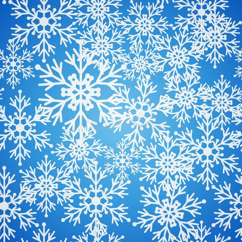 Modelo azul inconsútil de la Navidad con los copos de nieve libre illustration