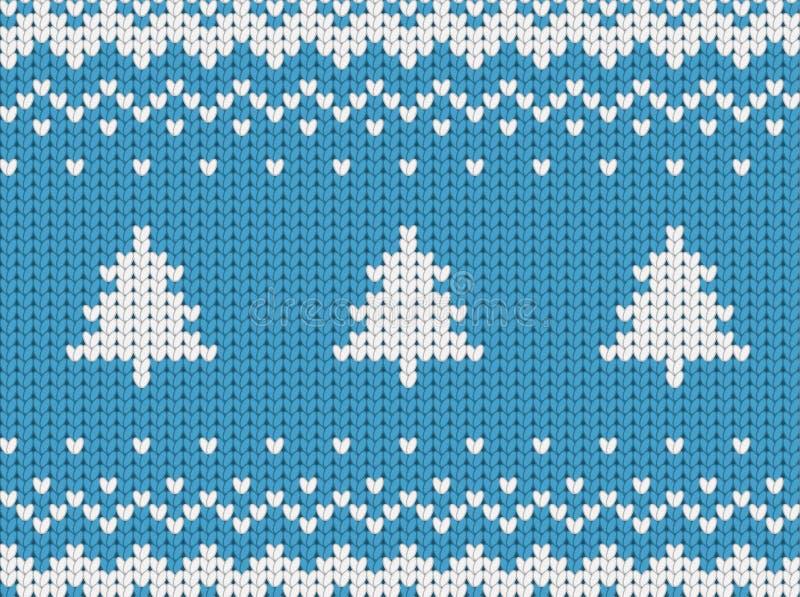 Modelo azul inconsútil hecho punto de la Navidad con los árboles de navidad libre illustration