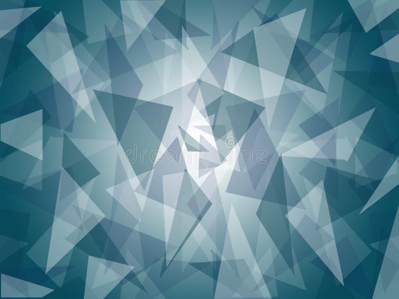 Modelo azul marino/gris acodado extracto del triángulo con diseño de centro brillante del fondo stock de ilustración