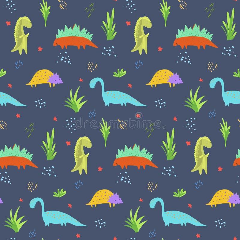 Modelo azul marino lindo de los dinosaurios para la materia textil de los niños libre illustration