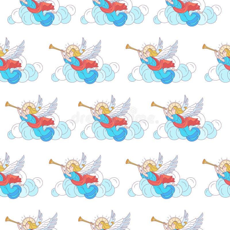 Modelo básico de la Navidad de RGBSeamless Ángeles que tocan la trompeta en las nubes Ilustración del vector en el fondo blanco libre illustration
