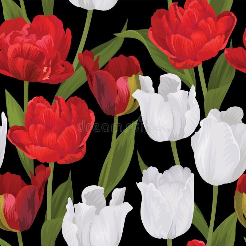 Modelo básico de RGBSeamless del fondo rojo y blanco de las flores del tulipán imagen de archivo libre de regalías