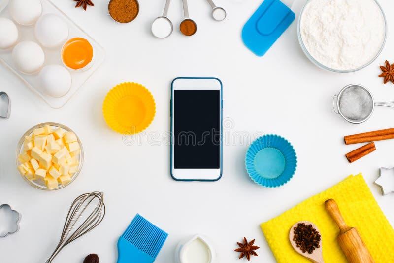 Modelo b do Web site do serviço da aplicação do telefone celular do cozimento da cozinha fotografia de stock