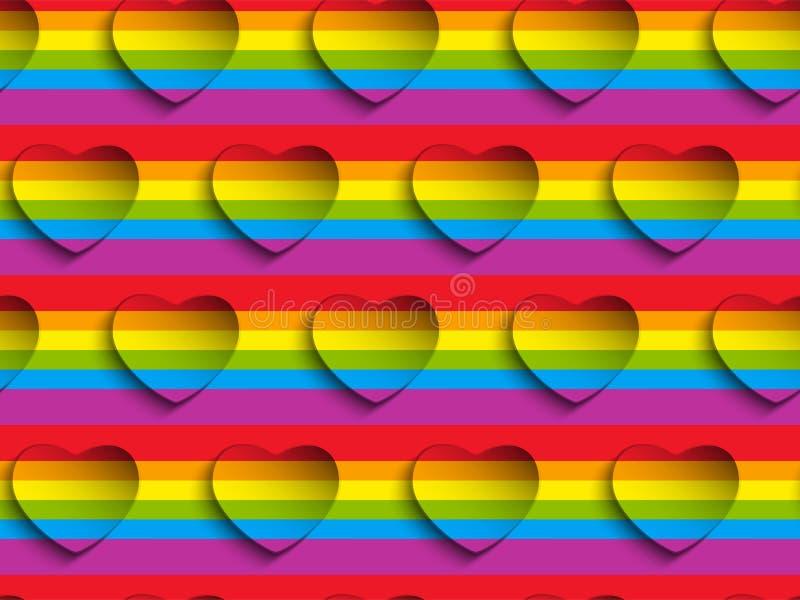 Modelo Backgroun de Valentine Day Gay Heart Seamless ilustración del vector
