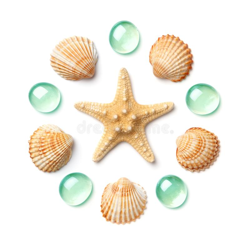 Modelo bajo la forma de círculo hecho de las cáscaras, de las estrellas de mar y de los guijarros de cristal verdes aislados en e foto de archivo