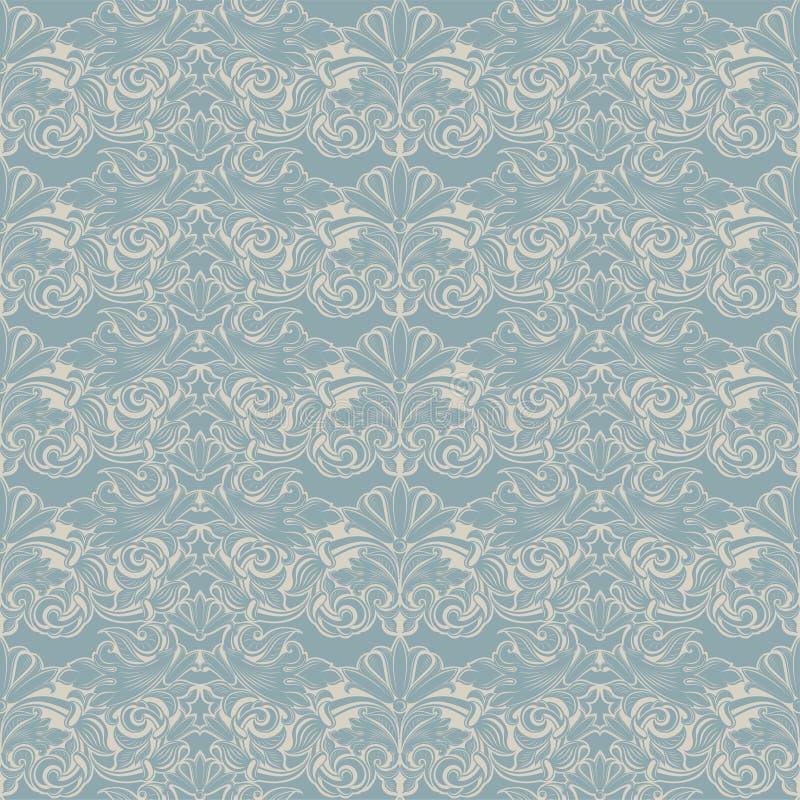 modelo barroco inconsútil en azul claro y blanco stock de ilustración