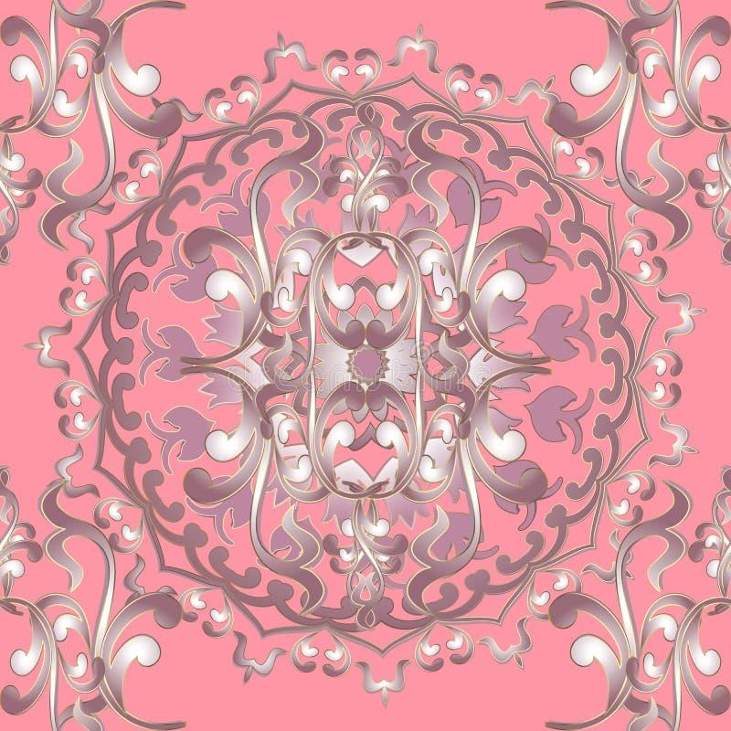 modelo barroco incons?til floral ornamental de la mandala del vector 3d Fondo rosado de la elegancia del vintage L?nea superficia ilustración del vector