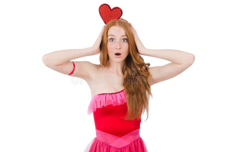 Modelo bastante joven en el mini vestido rosado aislado encendido foto de archivo