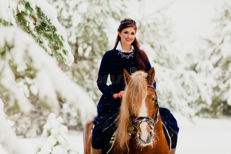 Modelo bastante joven que monta el caballo imagen de archivo