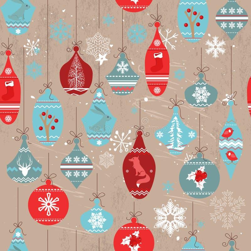 Modelo beige inconsútil del vintage con los elementos tradicionales de la Navidad ilustración del vector