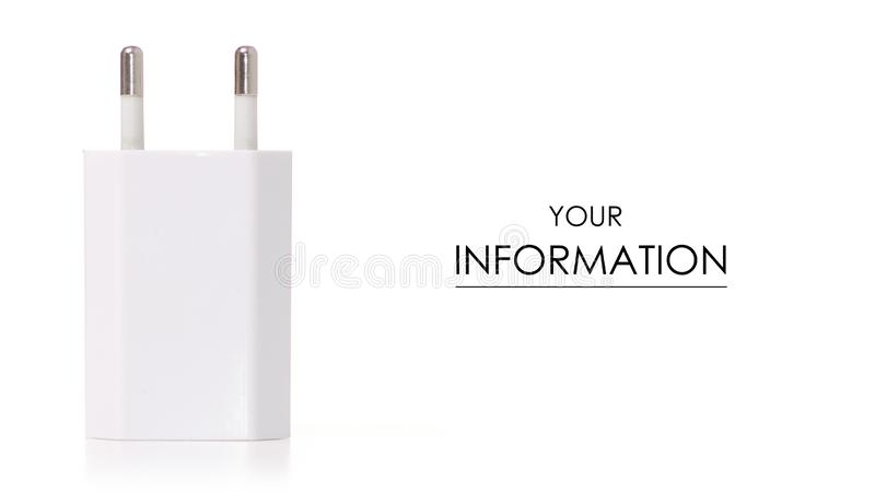 Modelo blanco de la fuente de alimentación del teléfono fotografía de archivo
