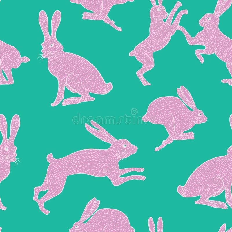 Modelo blanco/del rosa peculiar rosado del conejo de la repetición en fondo verde/azul llano foto de archivo