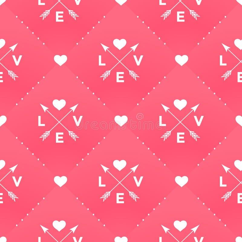 Modelo blanco inconsútil con amor, corazón y la flecha en estilo del vintage en un fondo rojo para el día de tarjeta del día de S ilustración del vector