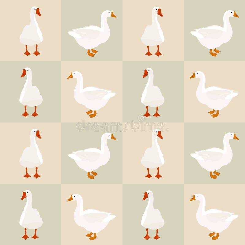 Modelo blanco inconsútil en cuadrados, vector EPS 10 del ganso stock de ilustración