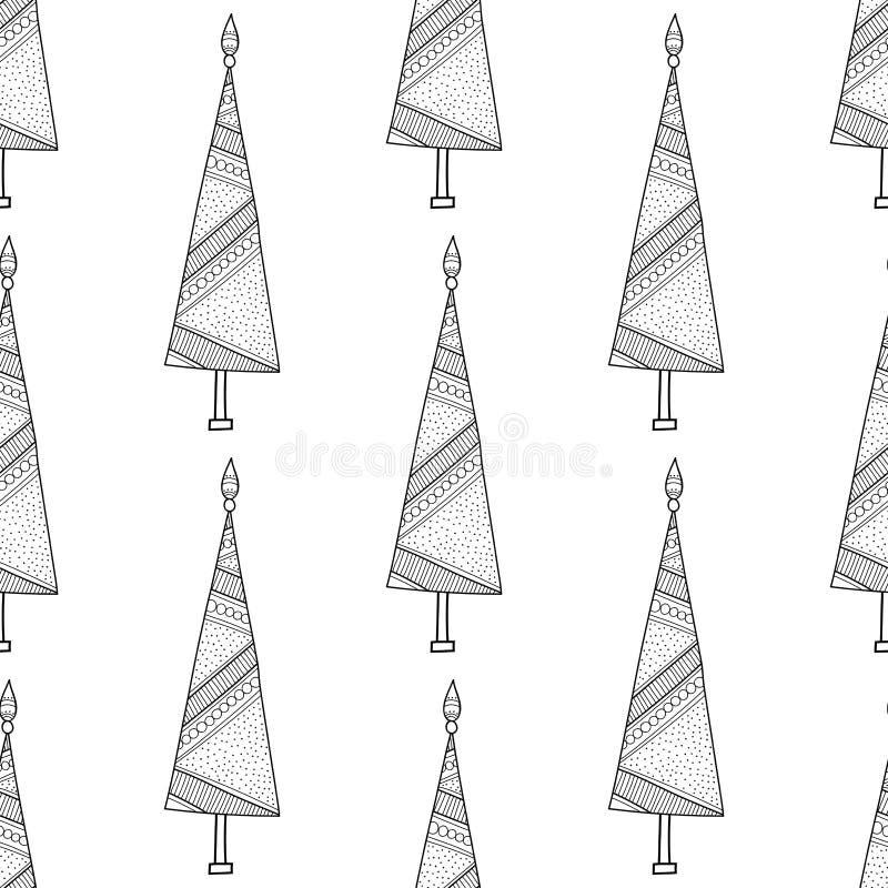Modelo Blanco Y Negro Con Los árboles De Navidad Para El Libro De ...