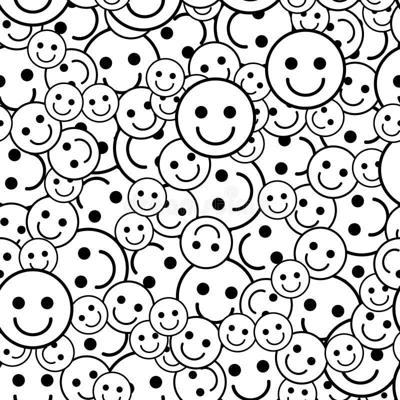 Modelo blanco y negro con los iconos de la sonrisa ilustración del vector