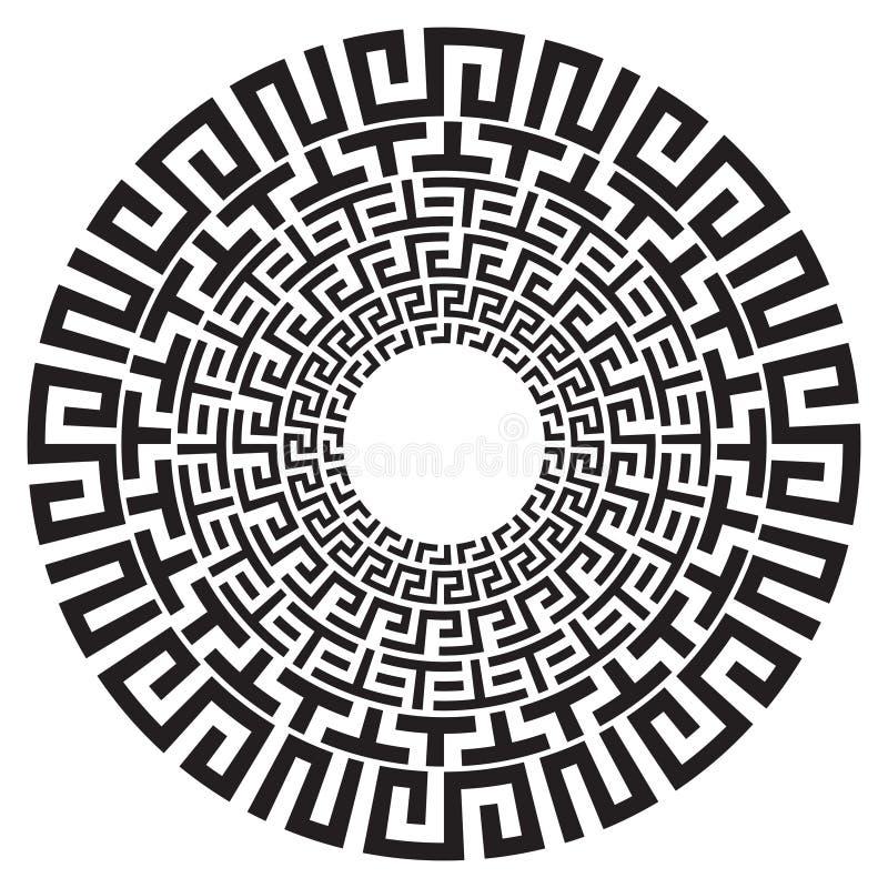 Modelo blanco y negro del vector de la llave redonda del meandro del griego clásico ilustración del vector