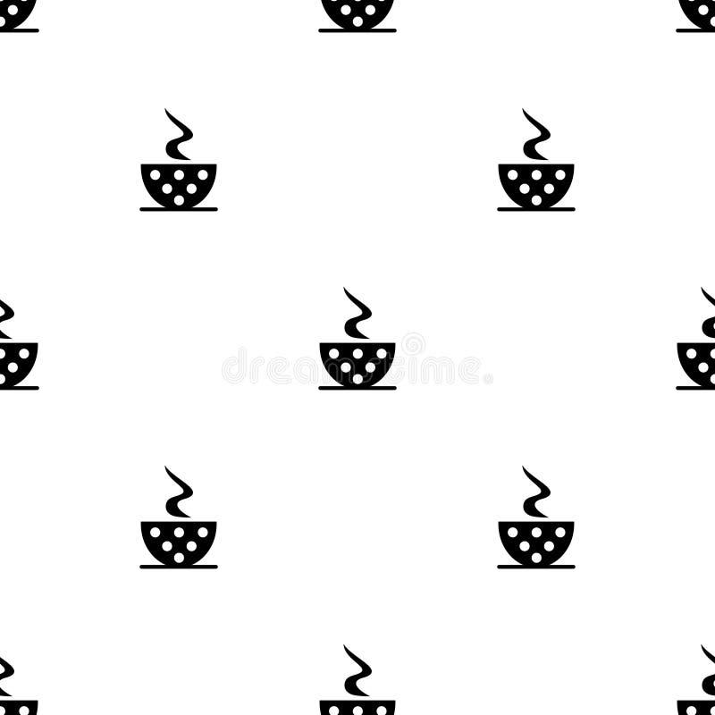 Modelo blanco y negro del vector inconsútil con las tazas de café con los puntos ilustración del vector