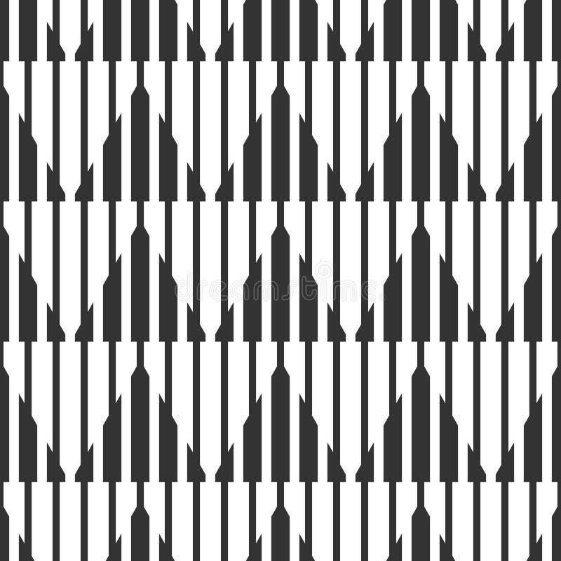 Modelo blanco y negro geométrico inconsútil abstracto, estrecho y ilustración del vector