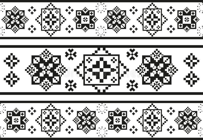 Modelo blanco y negro inconsútil con bordado étnico estilizado stock de ilustración