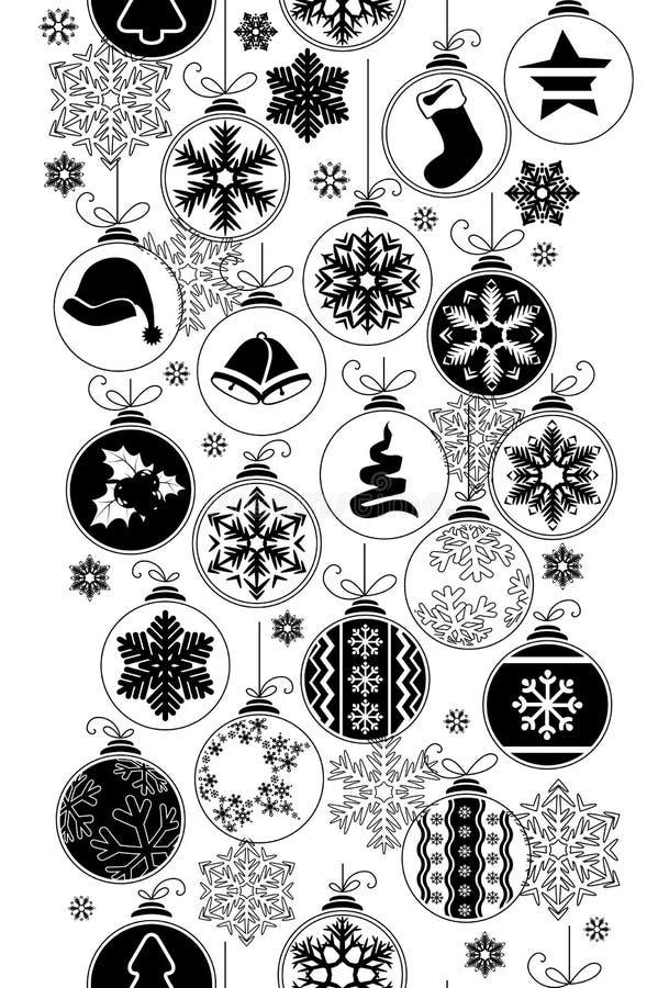 Modelo blanco y negro inconsútil con la Navidad ilustración del vector