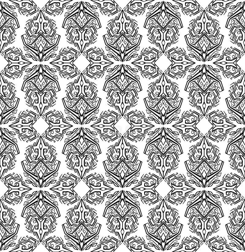 Modelo blanco y negro incons?til con los ornamentos geom?tricos del boho Fondo tribal stock de ilustración