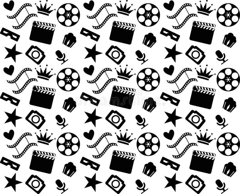 Modelo blanco y negro inconsútil del cine stock de ilustración